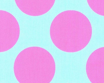 HALF YARD Kokka - Teiban Extra Large Dots - Pink Extra Large Dots on Aqua 69080-2A - Japanese Import Fabric