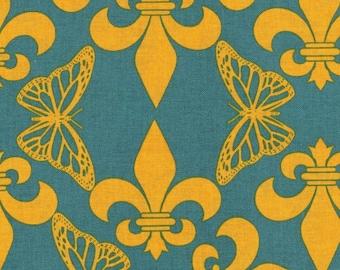 HALF YARD Kokka -  Regal Flutterby on Teal - Wanderlust Butterfly by Thomas Knauer JG-50600-600C