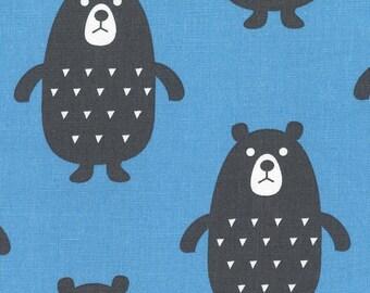 HALF YARD Kiyohara - Black Bear on Blue - Puti De Pome - PTMF 122 Bl - Cotton Linen Blend - Import