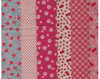 HALF YARD Yuwa - Strawberry Flower Cheater Stripes 446558-E - Cotton Linen Fabric - Plaid Cherry Dots Roses Rows - Atsuko Matsuyama 30s