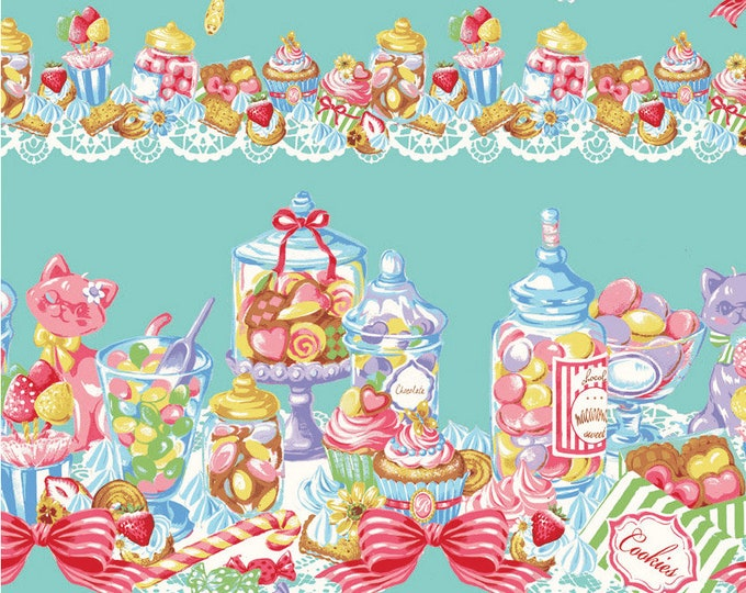 HALF YARD Kokka - Lolita Candy Party Border on Teal - 191302C - Birthday Party with Cupcake, Ribbon, Macaron, Balloons, Cake - Japanese