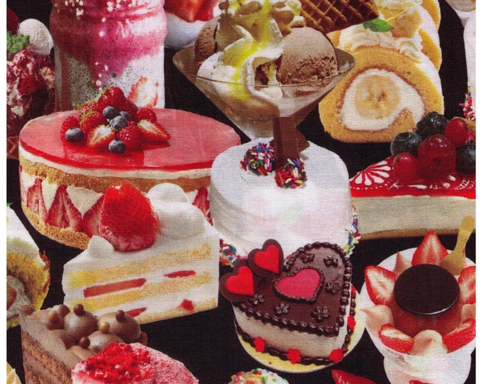 Featured listing image: HALF YARD Westex - Dessert Delights - 7018-2A - Photo Realistic Inkjet Printed - Cupcakes, Cake, Bakery Chocolate, Strawberry - Japan Import