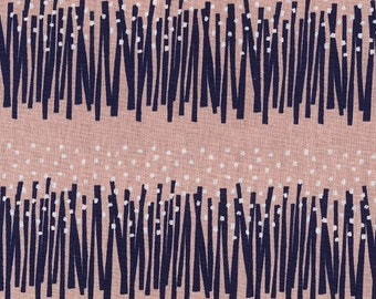 HALF YARD Kokka - Tayutou GRASSES Navy and White on Pink- Ekx5100-5B By Fabrica Uka - 45 Cotton/55 Linen Canvas - Japanese Import