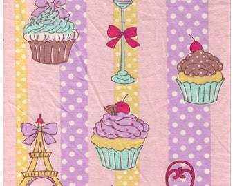 """End of Bolt - 28"""" Cut - HALF YARD  Yuwa - Cupcakes, Street Lamp and Eiffel Tower on Pink Yellow and Purple Stripe - Polka Dot, Bow Chocolate"""
