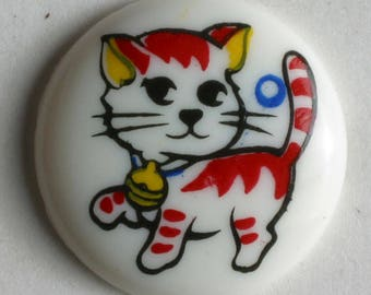 CAT Button - 15mm Domed Button - Made in Germany - Washable and Dry Cleanable 210562