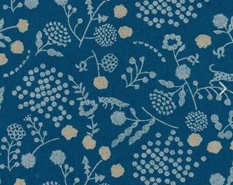 HALF YARD Kokka Echino - SPROUT Ekx97000-701B - White and Silver Metallic on Blue - Jaguar, Fox, Seed Pods, Hexagons - Cotton Linen