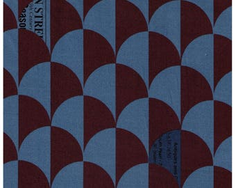 HALF YARD Yuwa - Scallop in Blue/Brown - Suzuko Koseki 826271-A - Clamshell, Scale, Wave Pattern - Japanese Import Fabric