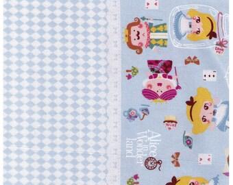 HALF YARD Kiyohara- Alice in Wonderland Border Print on Blue 09BL -  Fairytale - Japanese