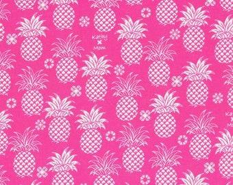 HALF YARD Lecien - Island Style Kathy Mom 2018  Pineapples on Pink 20110-21 - Gardenia, Hawaii - Japanese Import