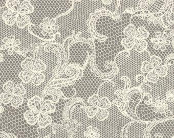 HALF YARD Lecien - Kayo Enza - Rose Life Garden 2017 - Stone Floral Lace - 31521-90 - Floral, Flower, Lolita - Japanese Import