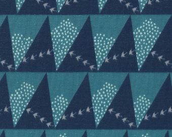 HALF YARD Kokka Echino - HILL Jg96800-803B Blue and Navy - Birds, Mountains, Triangles - Cotton Double Gauze