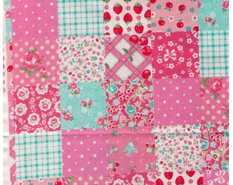 HALF YARD Yuwa - Sweet Cheater Patchwork PINKS - Atsuko Matsuyama 116549-B - Japanese Import Fabric