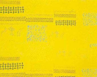 HALF YARD Yuwa - Small Motifs on Yellow  - Yoshiko Jinzenji - Low Volume Print - Japanese Import Fabric JZ312677-E