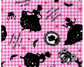 HALF YARD Lecien - Girl's Story Cinderella on PINK Gingham -  Glass Slipper, Pumpkin Carriage, Mirror, Princess, Prince