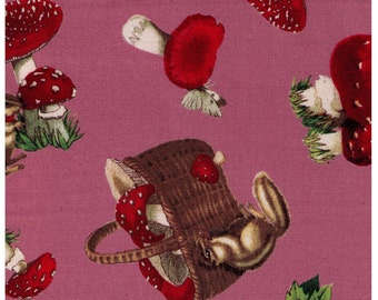 HALF YARD - Squirrel, Picnic Basket and Red Mushrooms on Pink - Chipmunk - Japanese Import Fabric - Cosmo Textile