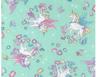 HALF YARD Cosmo Textile - Vanilla Pop Alacorn and Crystals Mint GREEN - AP75409 D -Glitter Pegacorn Pegasus Unicorn Mythical Diamond Sparkle