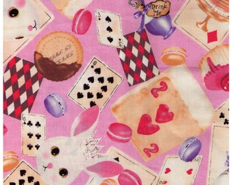 HALF YARD Kobayashi - Alice in Wonderland - Petit Lapin Playing Card Tea Time on Pink  6327C - Tea Cup, Spoon, Hearts - Japanese Import