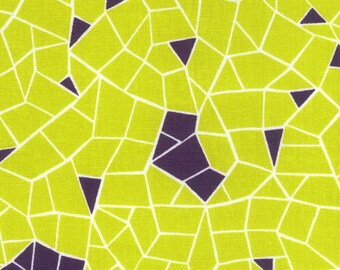 HALF YARD Kokka - Tayutou - Fortune - Chartreuse and Purple Colorway - 5110-4C - Cotton Linen Blend - Geometric, Abstract