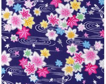 HALF YARD  Sakura on Royal Blue - Traditional Geometric Japanese Design tx16-18 - Cherry Blossoms with White Swirls and Silver Metallic