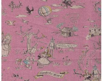 HALF YARD Yuwa - Wizard of Oz on Pink - Miyako Kawaguchi - Cotton Linen Canvas - Fairy Tale Wonderful Wizard with Dorthy