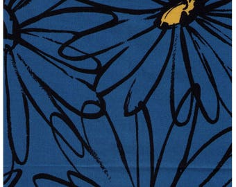 HALF YARD Yuwa - Extra Large Sketched Daisies on Blue - Suzuko Koseki 826283-D - Flower, Floral, Large Scale - Japanese Import Fabric