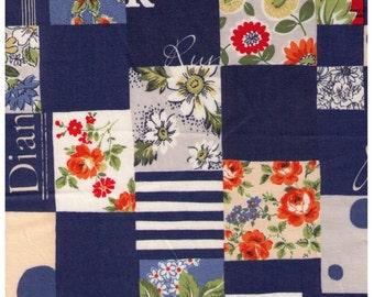 HALF YARD Yuwa - BLUE Mixed Cheater Print with Text  - Suzuko Koseki 826150-B - Japanese Import- Paris Bonjour France Merci Pattern Daisy