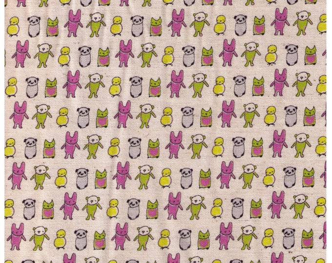 HALF YARD Creative Thursday - The Tinies - JG-50100-100A - The Tinies on Natural - 85/15 Cotton Linen Blend Canvas