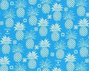 HALF YARD Lecien - Island Style Kathy Mom 2018  Pineapples on Blue 20110-70 - Gardenia, Hawaii - Japanese Import