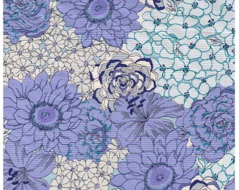 HALF YARD Yuwa - Succulent Garden - BLUE Colorway 824522-C - Cactus, Flowers, Blooms, Blossoms - Cotton Quilting - Japan Import