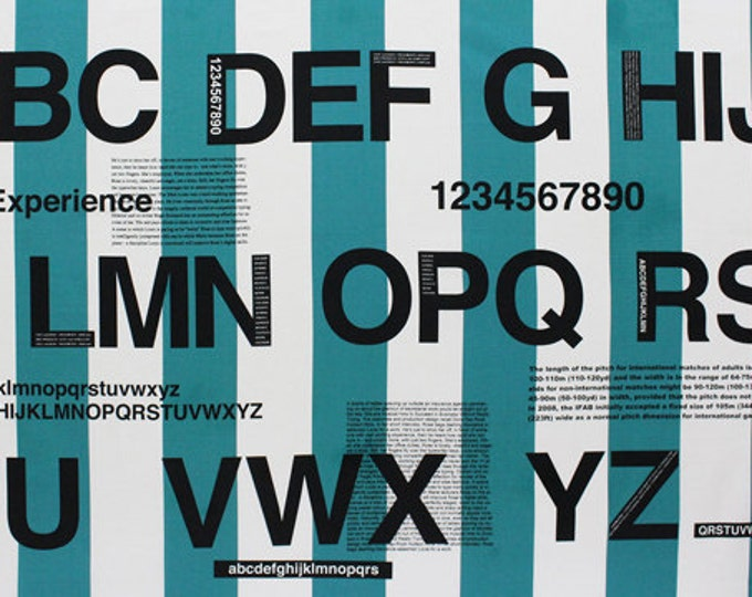 One Panel - First of Infinity Collection 31047-66 Alphabet Text Numbers on TEAL Stripes - Blocks Numbers Letters - Lecien