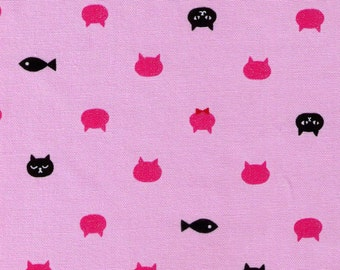 HALF YARD Glitter Kitty Polka Dots on Pink - Black Cat Face, Fish and Hot Pink Heads with Red Bowtie - Cosmo Textile - Japanese Import