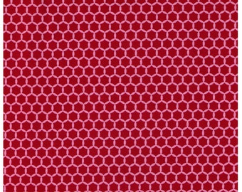HALF YARD Yuwa Fabric - Kei Geostyle Hexacomb Raspberry Red and Pink - Honeycombs Polka Dots by Kei - Japanese Import Fabric