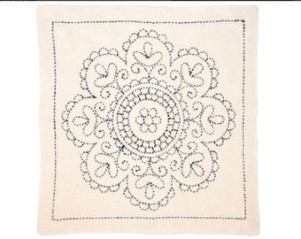 "TULIP - Sashiko Kit - HUNGARY Rose Medallion - 12"" Pillow Dish towel - Hand Quilting & Stitching- Japanese"