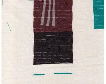 "End of Bolt - 8"" Cut -  Yuwa - Simple Quilt on Cream White - Grey Pink Teal - Yoshiko Jinzenji - Low Volume Print - Japan Import JZ152109-D"