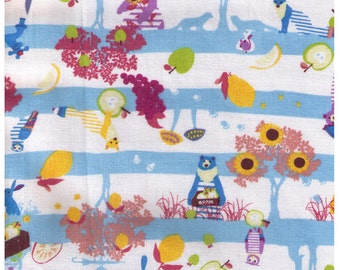 HALF YARD - Kayo Horaguchi - Apples and Bears Blue and White Stripes - Kiyohara Imported Japanese - Bear, Fox, Tree, Owl, Apple, Stripe