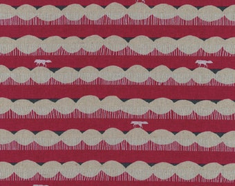 HALF YARD - Echino 2019 - Trail w/ Foxes- Red Colorway 97020 22C - Cotton Linen Canvas - Stripe, Geometric