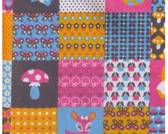 HALF YARD Kokka - Panda Deer Cheater in Grey, Pink and Blue - Heart, Mushroom, Flower, Dot, Apple, Butterfly - Japanese Import