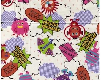HALF Yard Kokka - Space Monster on White - Alien, Monster, Playful, Robot, Space - Japanese Import Fabric