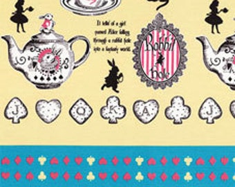 HALF YARD Lecien - Judies Cotton Collection 40537-50 - Alice in Wonderland Tea and Cookies YELLOW - White Rabbit, Queen of Hearts Bows