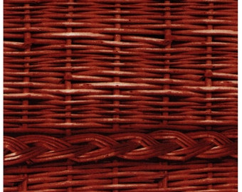 HALF YARD - Photo Realistic Dark Brown Basket Weave with Braid, Oxford Cotton 39403-2 - Cosmo Textiles, Japanese Import