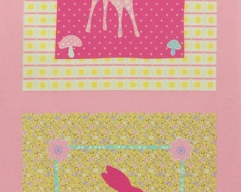 Sale One PANEL Lecien - Deer and Bunny PANEL in Yellow and Light Pink 40606-20 - Happy Rooming