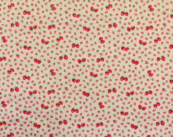 HALF YARD Yuwa - Mini Petite Red Strawberries on Light Blue 446559-C  Atsuko Matsuyama 30s collection - Linen Cotton Canvas - Perfect Zakka