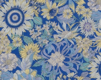 HALF Yard - Cosmo - Garden Delight II in Blue with Blue Background - Lawn 92406-2E - Flower, Floral, Bouquet, Garden - Japanese Import