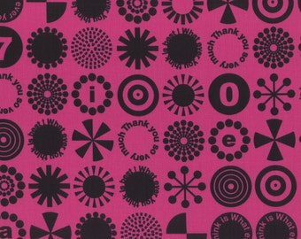 HALF YARD - First of Infinity Collection 31232-30 Thank You So Very Much -Black on Fuchsia PINK - Geometric  Lecien Japanese