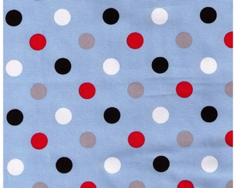 HALF YARD - Lecien Color Basic - 4601-LLZ Light Blue w/ Multi Large Dots - Red Black Grey White - Canvas Special Edition Japanese