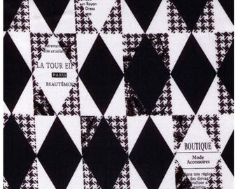 HALF YARD Yuwa - BLACK Diamond and Houndstooth Cheater - Suzuko Koseki 826278-B - Harlequin, Geometric, Graphic - Japanese Import Fabric