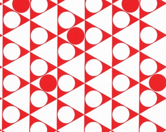 HALF YARD - First of Infinity Collection 31234-30 Gumballs Triangle Circles -Red and White - Geometric  Lecien Japanese