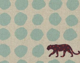 HALF YARD Kokka Echino - PANTHER 90100-101B - Aqua on Natural - Geometric Dots and Jaguar - Cotton Linen