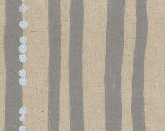 HALF YARD Kokka Echino Spring 2018 - Lines Jg96900-901C - Grey Silver Metallic - Cotton Linen