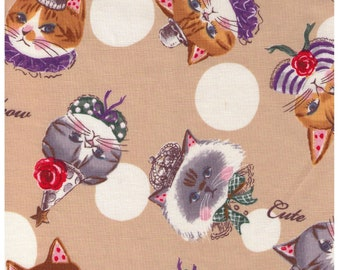 HALF YARD Yuwa - Party Hat Kitties -Polka Dots and Cats on BEIGE - Sobakasu-Kids - Grumpy, Flowers, Parties, hat Quilting Cotton
